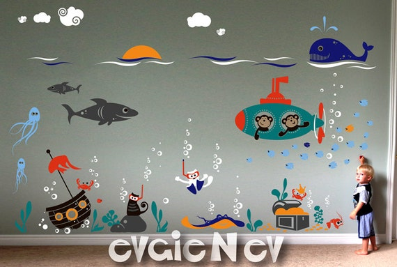 Ocean Friends Wall Decals - Cats Scuba Divers with Submarine Monkeys - Sunken Pirate Ship, Octopus, Shark - Underwater Nursery - PLUW050