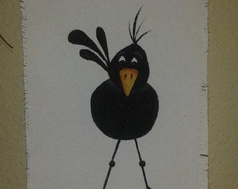 Primitive, Hand Painted, Crow, Ornament, Door Hanger