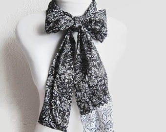 Black white Cotton Head Scarf, Hair wrap, Headband, Bow Scarf, Tube Scarf, scarf tie, Paisley Scarf, Lace