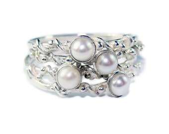 Pearly stacking rings with twisted wire & granules detail, 925 Silver, Freshwater Pearls
