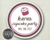 Cupcake Favor Label - Cupcake Label // Cupcake Party Label // Personalized Label // Favor Box Label // kids party favor // round labels