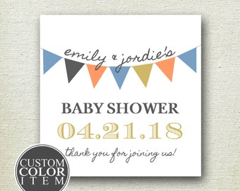Bunting Wedding Favor Label // Bunting Label // Personalized Label // Baby Shower Label // Bridal Shower Label