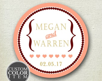 Wedding Favor Labels // Audrey Design // Personalized Wedding Label // Favor Box Label // Round Wedding Label // Round Favor Label