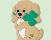 Personalized Puppy Dog w/Clover Christmas Ornament HANDMADE Polymer Clay