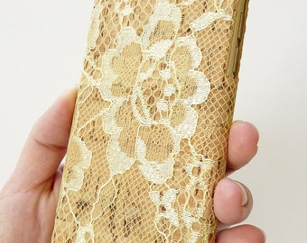 Apple Iphone 6 6s 4.7 Handcrafted Real Flower Gold Lace with Natural Wood Cork Snap on Protection Cell Phone Mobile Case Hard Cover Handmade