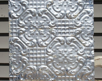 "12"" Antique Tin Ceiling Tile -- Distressed Silver Colored Paint -- Repeating Flower Design"