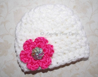 Chunky baby hat for girls - photo prop - made to order