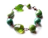 Green Bohemian Bracelet, Romantic Green Jewelry, Unique Natural Green Bracelet