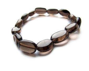 Smoky Quartz Bracelet, Simple Gemstone Smoky Brown Quartz Bracelet, Gemstone Bracelet, Smoky Quartz Jewelry