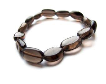 Smoky Quartz Bracelet, Simple Gemstone Smoky Brown Quartz Bracelet, Gemstone Bracelet, Smoky Quartz Jewelry
