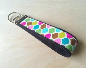 Fabric wristlet keychain, key fob - Moroccan Rainbow