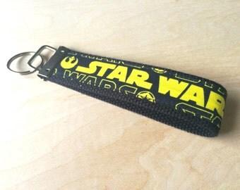 Fabric wristlet keychain, key fob - Yellow Star Wars