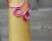 Handcrafted Bold Pink Swirly Spiral Wire Ring, Boho Minimal Jewellery Spiritual Jewellery,Wirework, Ritual Jewellery,Colour Therapy, Chakras