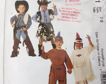 McCall's Costumes Pattern 2851 Cowboy and Indian Costume Size 7-8 Boys and Girls Dated 2000