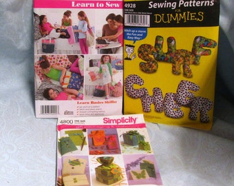 New Uncut Simplicity Patterns Your Choice #4928 Alphabet Pillow  #4800 Gift Bags