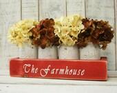 The Farmhouse Mason jar box pint mason jars, rustic decor, mason jar centerpiece, rustic table centerpiece, wooden box, home decor