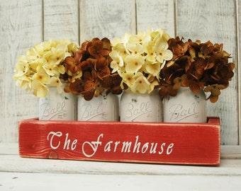 The Farmhouse Mason jar box, Farmhouse decor, rustic decor, mason jar centerpiece, rustic table centerpiece, wooden box, home decor