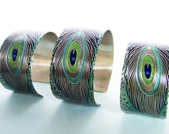 Bridesmaid Gifts - Set of 3 Etched Peacock Feather Art Jewelry Cuff Bracelet