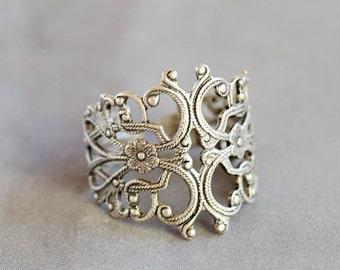 Cherry Blossom Filigree Ring,Flower Silver Ring,Jewelry Gift, Ring,Silver,Flower,Antique Ring,Silver Ring,Blossom,Wedding,Bridesmaid.