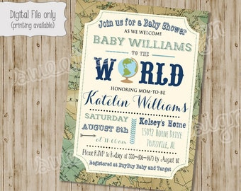 Welcome to the World Baby Shower Invitation, Baby Boy or Baby Girl, World Baby Shower, Map Shower Invitation, Baby Shower Invitation