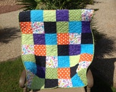 Modern Quilt, Minky Back, Patchwork, Lap Quilt, Crib Quilt, Ready To Ship, Dot, Turquoise, Gender Neutral