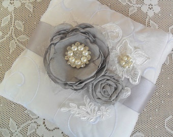 Silver/Grey Ring Bearer Pillow, Lace Ring Pillow, Wedding Accessory, YOUR CHOICE COLOR, Floral Ring Pillow, Bridal Pillow,Ring Bearer Pillow