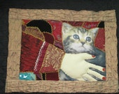 Crazy Quilt Wall Hanging. Take Care of my CAT  One-of-a-Kind fiber art Work