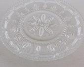 Vintage Pressed Glass Pattern Serving Plate Platter, Heritage Pattern