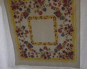 Vintage Tablecloth, Off White Cotton Printed with Yellow Red and Blue Fruit