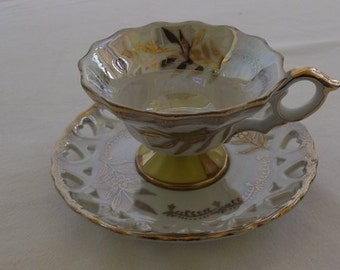 Vintage Tea Cup and Saucer, Tupper and Mann Royal Halsey Lusterware, Yellow with Heart Detail