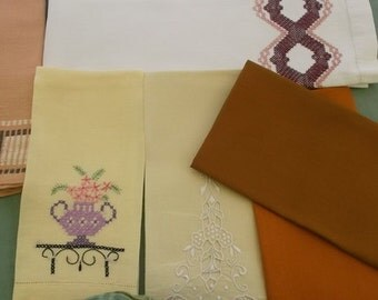 Vintage Towels, 6 Piece Assortment, Guest Towels, Fingertip Towels, Fall Colors