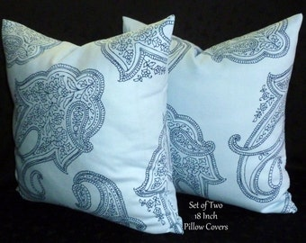 Pillows, Decorative Pillows, Cushions, Accent Pillows, Pillow Covers, Throw Pillows - Set of Two 18 Inch - Blue Paisley