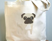 Pug canvas tote. Sturdy 100% 10oz. cotton canvas.