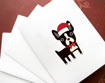 Boston Terrier Christmas cards, 6 blank cards