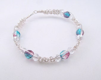 Aqua and Fuschia macrame wire bracelet silver plated