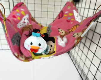 Raindrop hedgehog Rat hammock,  pink hammock, yellow hammock, ferret, fleece cage accessories, pet sleeping bag, rat bed