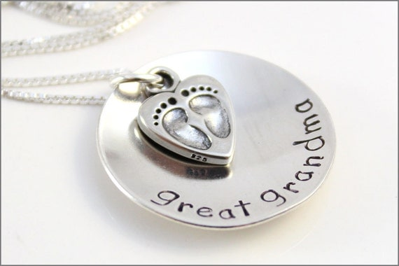 Great Grandma Necklace with Baby Feet in Sterling Silver | Personalized Grandma Necklace | Hand Stamped Jewelry