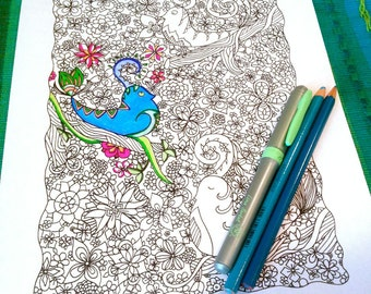 Adult Coloring Page Birds Woodland Doodle Nature Flower Design Printable Drawing Kids Art Activity