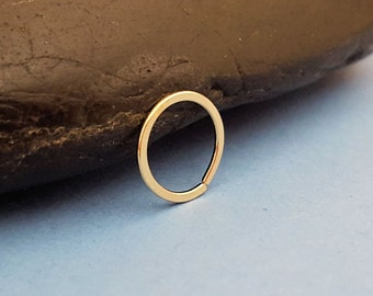 20g Nose Ring 14k Gold Filled Endless Hoop, Earring, Cartilage, 8mm, 10mm or 12mm in Yellow or Rose Gold