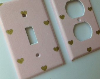 Pink Gold Metallic Heart Single Light Switch Plate Cover / Gold Home Decor / Gold Bedroom Decor / Gold Nursery /Pink Nursery / Baby Gift