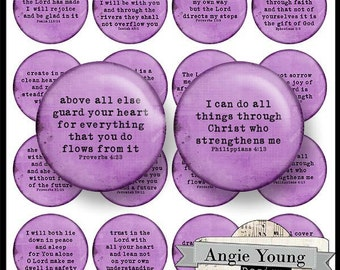 Digital Collage Sheet: Circles #23 (3 sizes - 2 inch, 1 inch, 1.5 inch) - Digital Art Supplies By Angie Young