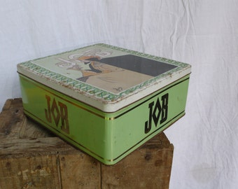 Green antique art deco tin, french country home, biscuit container, art deco decor, shabby french tin, job cigarettes, French vintage