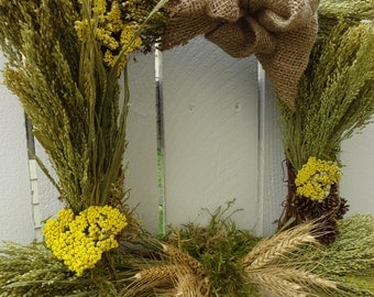 Square Wreath  Natural Wreath  Spring and Summer Wreathh   Canary Grass Wreath  Home Decor Front Door Wreath