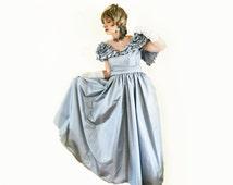Vintage Victor Costa Taffeta Ball Gown - 70s BallGown - Full Skirt Formal - S