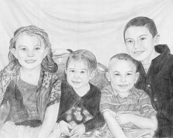 Custom Family Portrait Drawing Sketch (Pencil / Charcoal) From Your Photograph 20X16 - 4 Persons