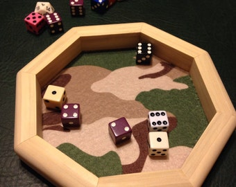 Wooden Octagon Dice Tray With Camo Bottom