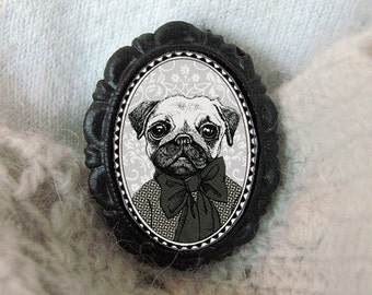 pug brooch - victorian style cameo - black and white portrait