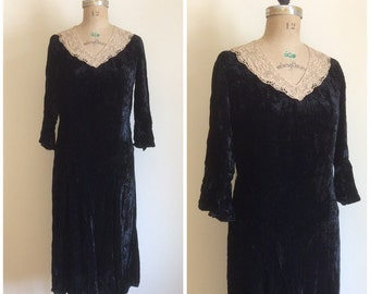 1920s Lace Black Velvet Party Dress 20s Flapper