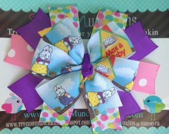Max and Ruby Pinwheel Hair Bow - Yellow, Purple and Pink Polka Dot Spike Hair Clip