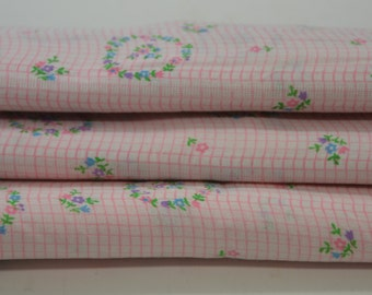 Pink Floral Fabric Vintage Fabric by the yard